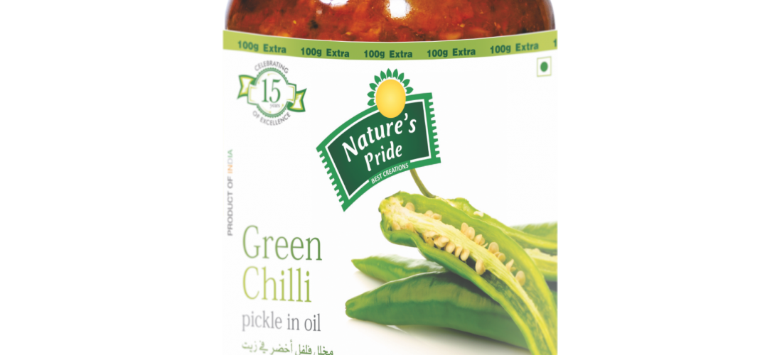 Nature's Pride Green Chilli Pickle Label